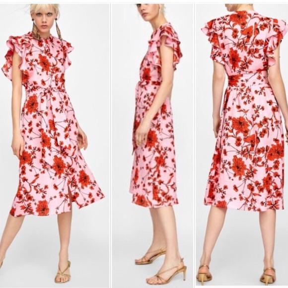 fdefec01972 ZARA New Floral Print Linen Tunic Dress Size Large.  M_5b405d964ab6338d5a76d520